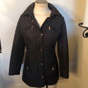Beautiful Steve Madden black coat w\ hood Size med